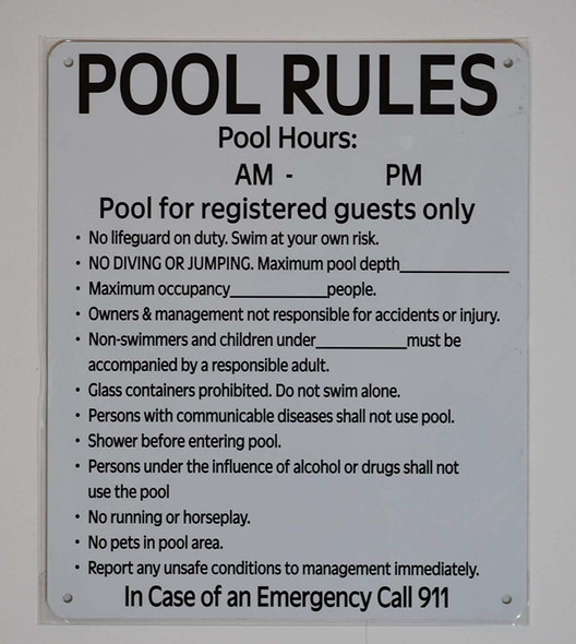 Pool Rules and Pool Hours Sign