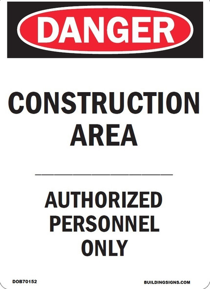 CONSTRUCTION AREA - AUTHORIZED PERSONS ONLY SIGN