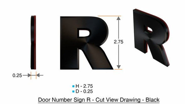 1 PCS - Apartment Number Sign/Mailbox Number Sign, Door Number Sign. Letter R
