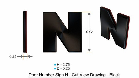 1 PCS - Apartment Number Sign/Mailbox Number Sign, Door Number Sign. Letter N