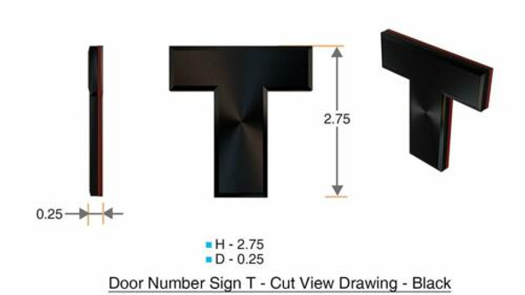 1 PCS - Apartment Number Sign/Mailbox Number Sign, Door Number Sign. Letter T