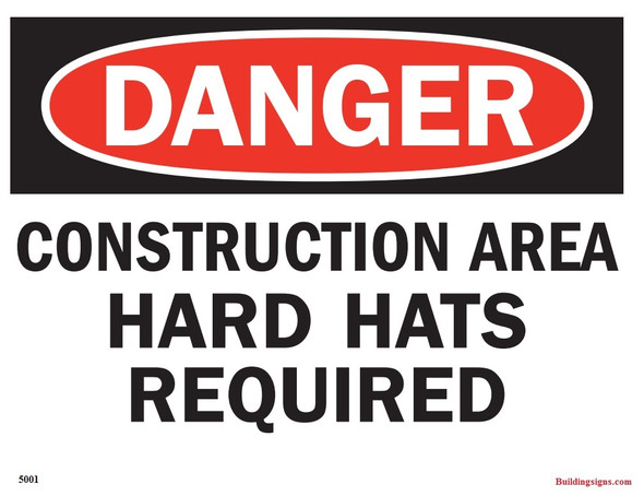 DANGER: CONSTRUCTION AREA HARD HATS REQUIRED SIGN
