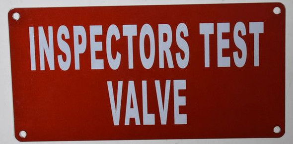Inspection Test Valve Sign