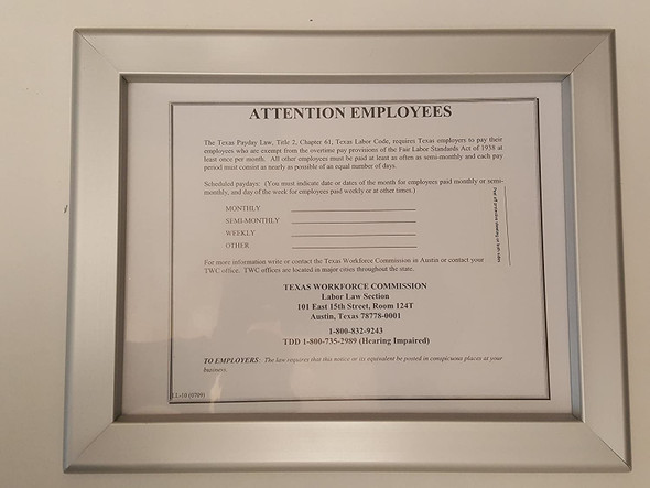 TEXAS WORKFORCE COMMISSION NOTICE FRAME 8.5 X 11
