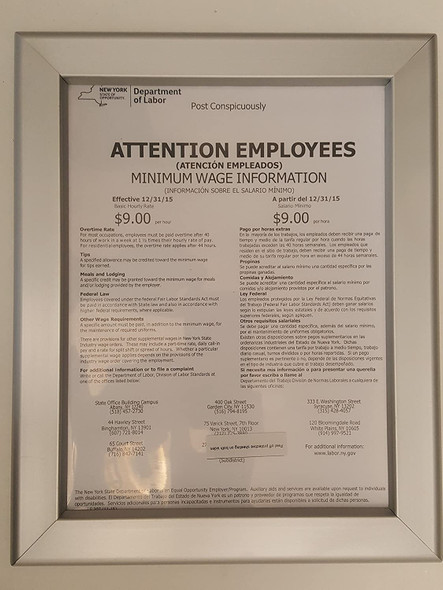 NYS Department of Labor Frame 8.5 x 11