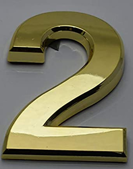 Apartment Number Sign/Mailbox Number Sign, Door Number Sign. Number 2 Gold,3D,
