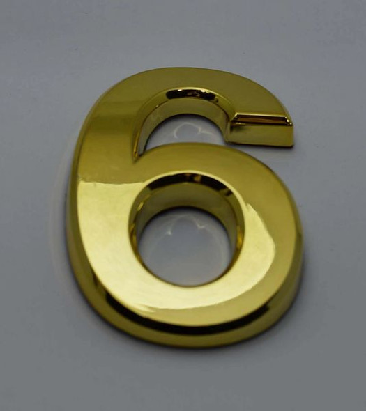 Apartment Number Sign/Mailbox Number Sign, Door Number Sign. Number 6 Gold