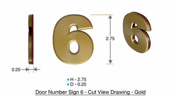 Apartment Number Sign/Mailbox Number Sign, Door Number Sign. Number 6 Gold