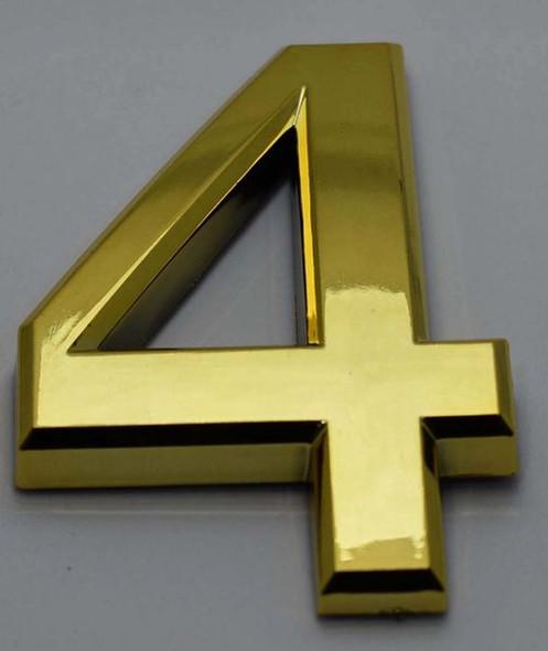 Apartment Number Sign/Mailbox Number Sign, Door Number Sign. Number 4Gold,3D, Size
