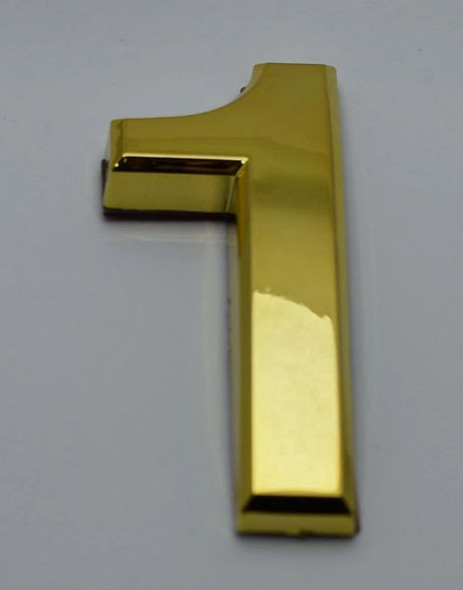 Apartment Number Sign/Mailbox Number Sign, Door Number Sign. Number 1 Gold,3D,