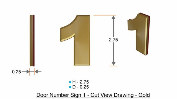 Apartment Number Sign/Mailbox Number Sign, Door Number Sign. Number 1 Gold,3D,