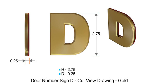 1 PCS - Apartment Number Sign/Mailbox Number Sign, Door Number Sign. Letter D Gold,