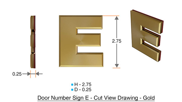 Apartment Number Sign Letter E Gold
