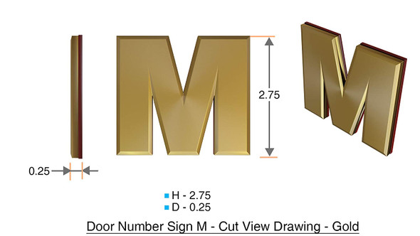 1 PCS - Apartment Number Sign/Mailbox Number Sign, Door Number Sign. Letter M Gold