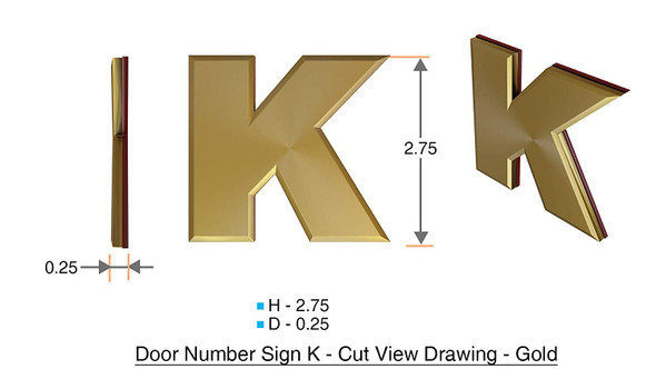 1 PCS - Apartment Number Sign/Mailbox Number Sign, Door Number Sign. Letter K Gold