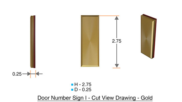 1 PCS - Apartment Number Sign/Mailbox Number Sign, Door Number Sign. Letter I Gold