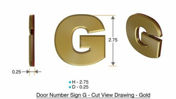 1 PCS - Apartment Number Sign/Mailbox Number Sign, Door Number Sign. Letter G Gold