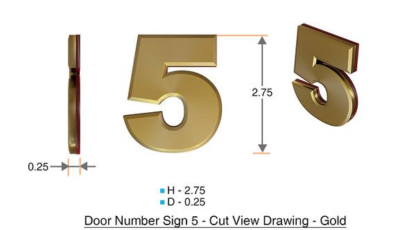 Apartment Number Sign/Mailbox Number Sign, Door Number Sign. Number 5 Gold,3D,