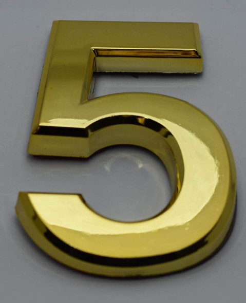 Apartment Number Sign/Mailbox Number Sign, Door Number Sign. Number 5 Gold,3D,