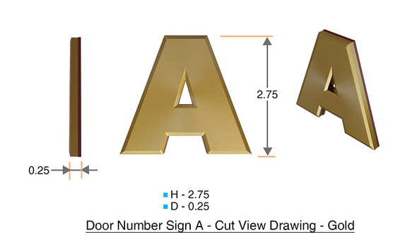 1 PCS - Apartment Number Sign/Mailbox Number Sign, Door Number Sign. Letter A Gold,