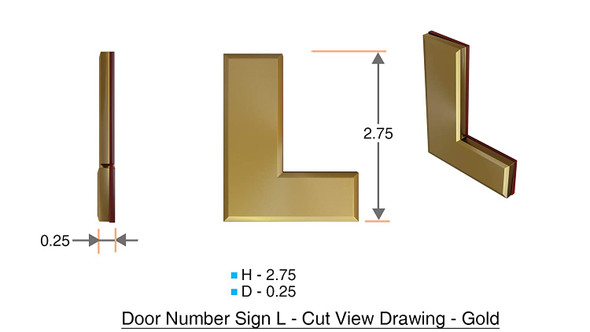 1 PCS - Apartment Number Sign/Mailbox Number Sign, Door Number Sign. Letter L Gold