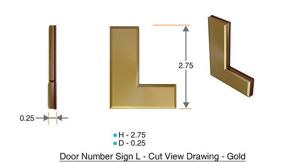 Apartment Number Sign Letter L Gold