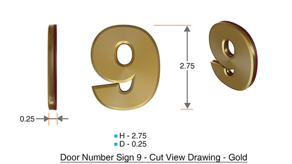 Apartment Number Sign/Mailbox Number Sign, Door Number Sign. Number 9 Gold,3D,