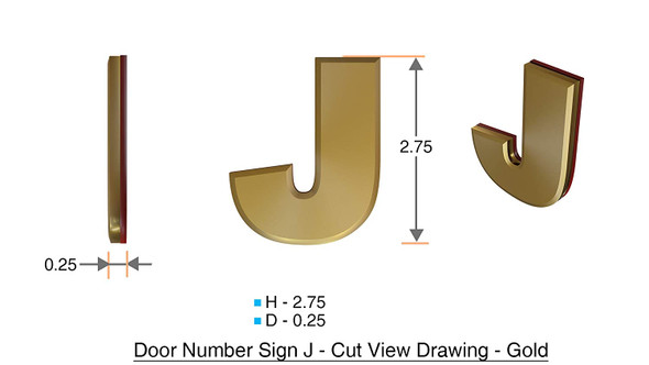 Apartment Number Sign Letter J Gold