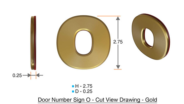 1 PCS - Apartment Number Sign/Mailbox Number Sign, Door Number Sign. Letter O Gold