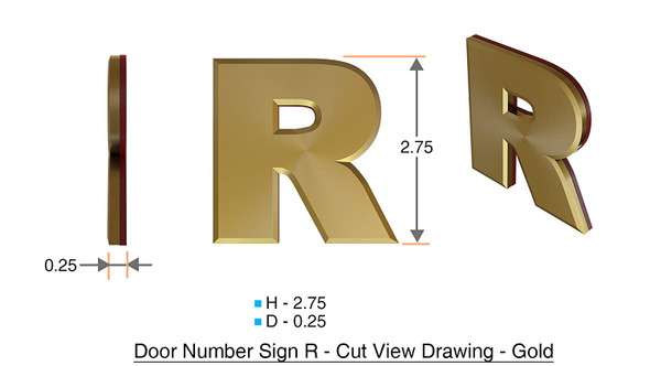 1 PCS - Apartment Number Sign/Mailbox Number Sign, Door Number Sign. Letter R Gold