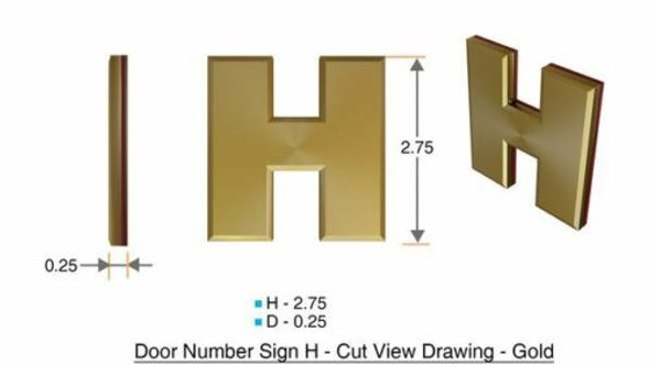 1 PCS - Apartment Number Sign/Mailbox Number Sign, Door Number Sign. Letter H Gold