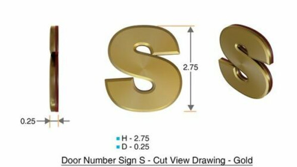 1 PCS - Apartment Number Sign/Mailbox Number Sign, Door Number Sign. Letter S Gold