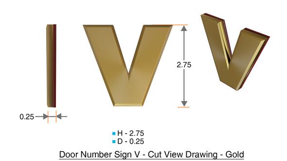 Apartment Number Sign Letter V Gold