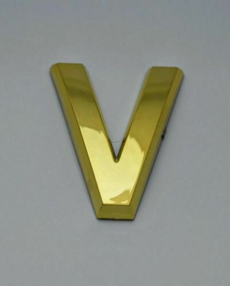 1 PCS - Apartment Number Sign/Mailbox Number Sign, Door Number Sign. Letter V Gold