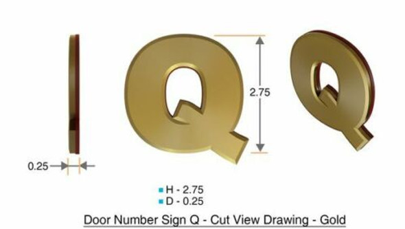 Apartment Number Sign Letter Q Gold