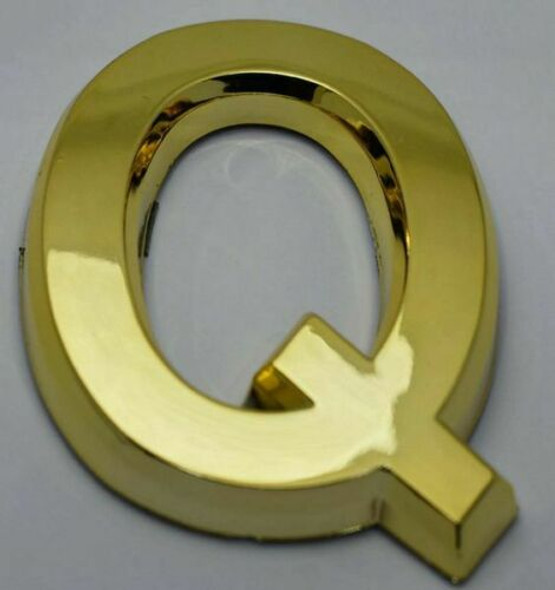 Apartment Number /Mailbox Number , Door Number . Letter Q Gold - The Maple line
