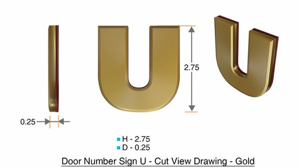 Apartment Number Sign Letter U Gold