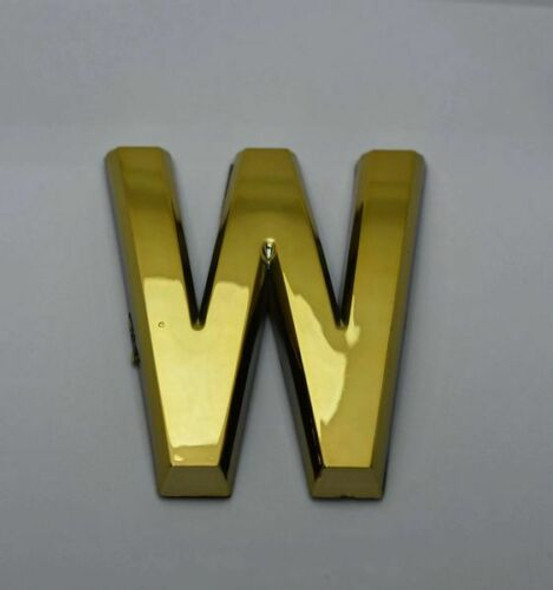1 PCS - Apartment Number Sign/Mailbox Number Sign, Door Number Sign. Letter W Gold