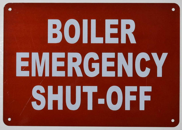 Boiler Emergency Shut Off Sign