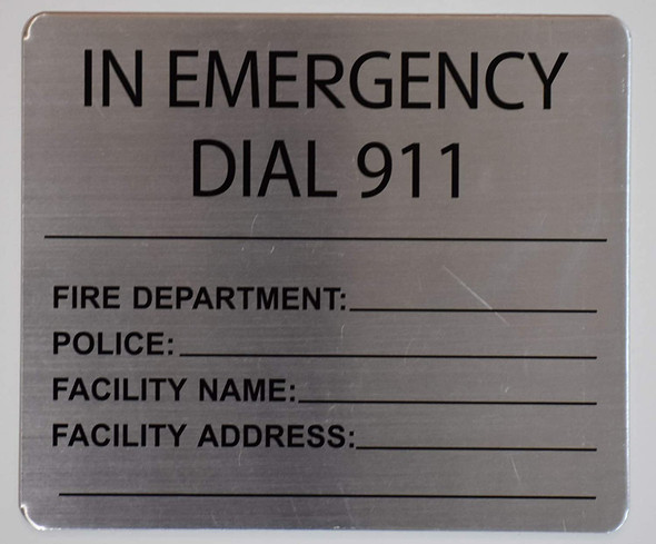 in Emergency dial 911 Sign (8x10, Silver)