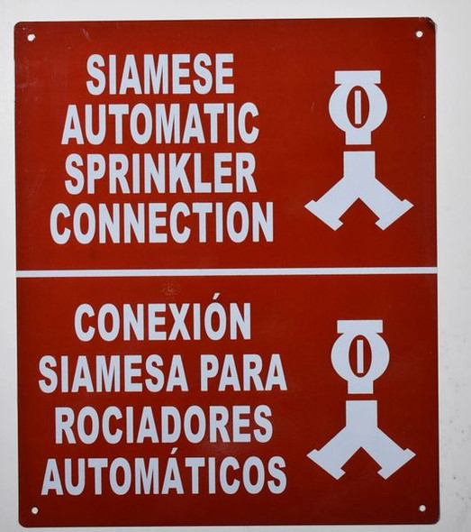 Automatic Sprinkler Connection Bilingual Sign with Symbol Sign with English & Spanish Text and Symbol Sign