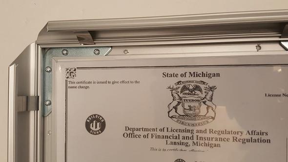 Business license frame MI