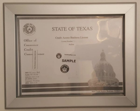 Business License Certificate Frame TX 8.5x11