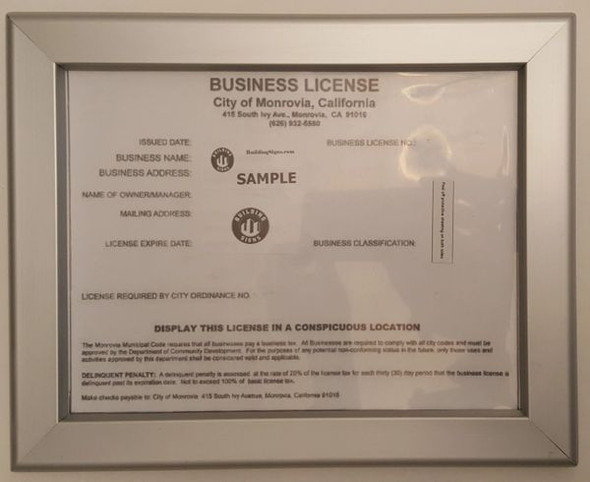 Business License Frame CA 8.5 x 11