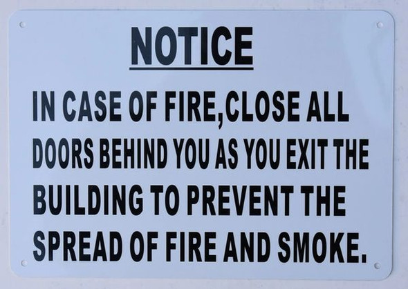 in CASE of FIRE Close All Doors Behind You Sign