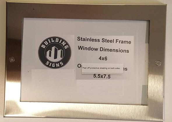 Elevator Permit Frame 4x6 Stainless Steel