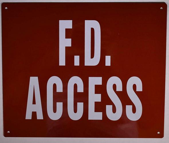FD Access Sign (FED,Reflective, Aluminium 10x12 -Rust Free)