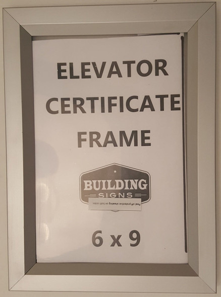 Elevator Inspection Certificate Frame 6 x 9