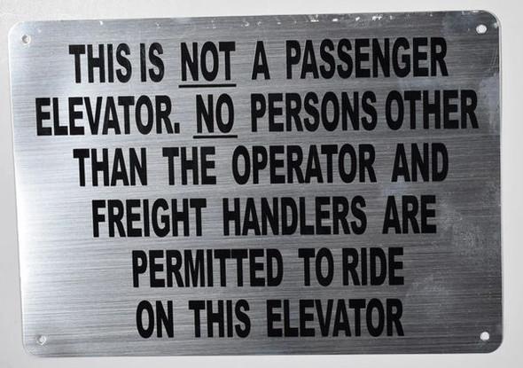 Freight Elevator Sign (Silver,Aluminium, )