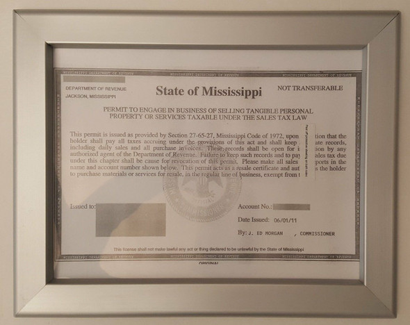 Business License Certificate Frame state of